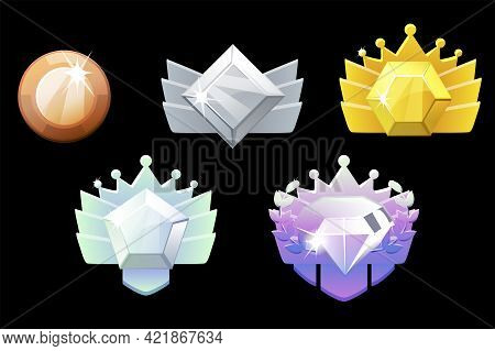 Game Rank Reward, Gold, Silver, Platinum, Bronze, Diamond Geometric Icons For Game.