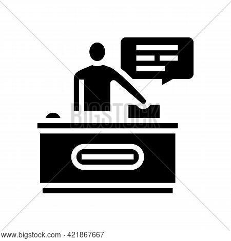 Reception Motel Glyph Icon Vector. Reception Motel Sign. Isolated Contour Symbol Black Illustration