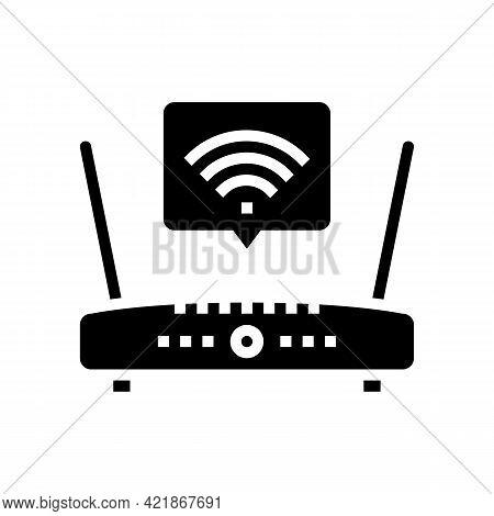 Wifi Internet In Motel Glyph Icon Vector. Wifi Internet In Motel Sign. Isolated Contour Symbol Black