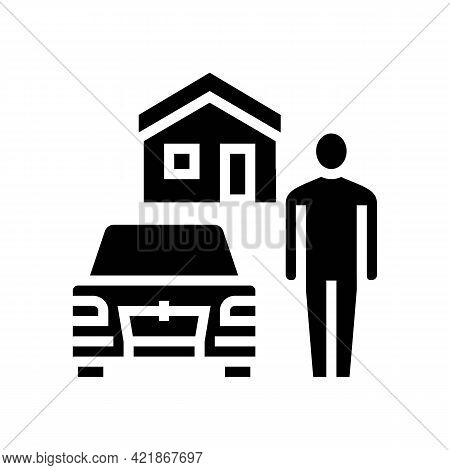 Resting House On Motel Territory Glyph Icon Vector. Resting House On Motel Territory Sign. Isolated