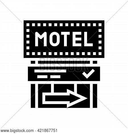 Road Advertising Mark Motel Glyph Icon Vector. Road Advertising Mark Motel Sign. Isolated Contour Sy