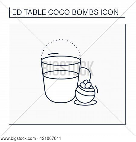 Coco Bomb Line Icon. Hot Milk. Delicious Dessert. Cute Ball Of Chocolate With Marshmallows Filling I