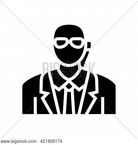 Private Security Glyph Icon Vector. Private Security Sign. Isolated Contour Symbol Black Illustratio