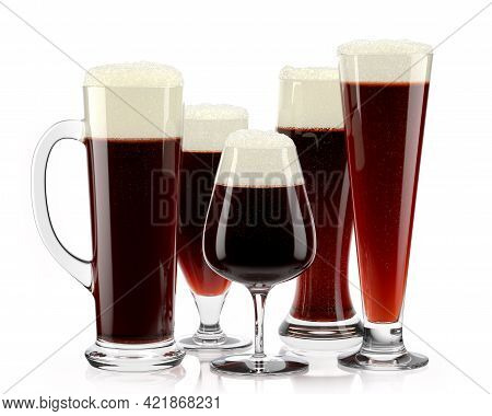 Set Of Fresh Stout Beer Glasses With Bubble Froth Isolated On White Background.