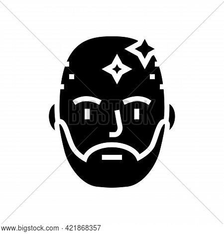 Bearded Man With Shaved Head Glyph Icon Vector. Bearded Man With Shaved Head Sign. Isolated Contour
