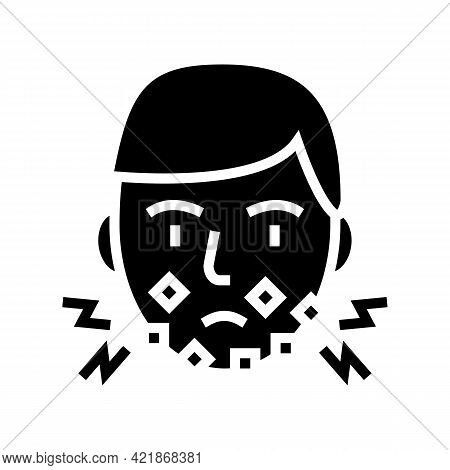 Injury Face After Shave Glyph Icon Vector. Injury Face After Shave Sign. Isolated Contour Symbol Bla