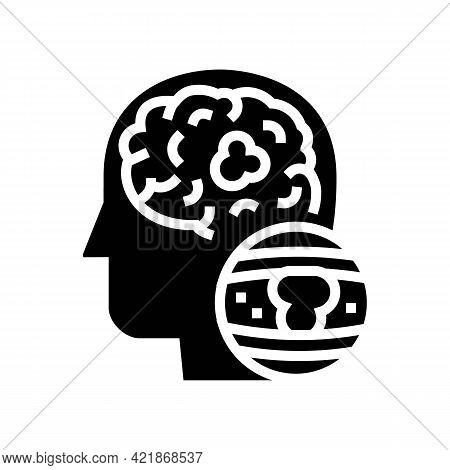 Brain Vessel Congestion Glyph Icon Vector. Brain Vessel Congestion Sign. Isolated Contour Symbol Bla