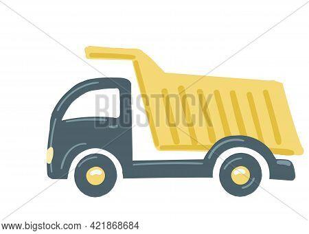 Truck Dump Truck Car Yellow. Isolated Car. Construction Equipment. Hand Drawn Cartoon Style, Vector