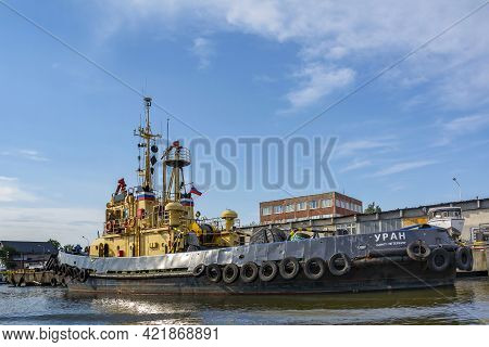 Kaliningrad Russia-august 16, 2017: Tug Boat At The Berth In  Seaport On The Pregolya River, Kalinin