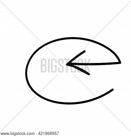 Round Frame With An Arrow Pointing Inward To An Oval. Hand-drawn Doodle. Vector Illustration Element