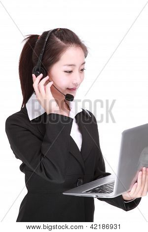 Businesswoman Talking On Headset