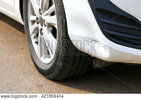 The Scratched On The Car Bumper In Crash Accident.