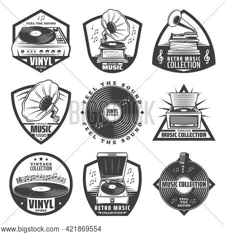 Vintage Monochrome Gramophone Labels Set With Inscriptions Turntable Vinyl Records Phonograph Microp