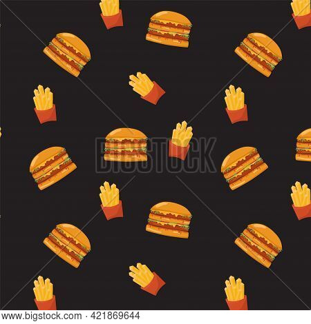 Burger And French Fry Seamless Pattern On Black Background. Vector Stock Illustration For Fast Food