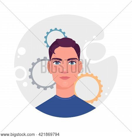Man Self Realization Concept Background. Cartoon Illustration Of Man Self Realization Vector Concept
