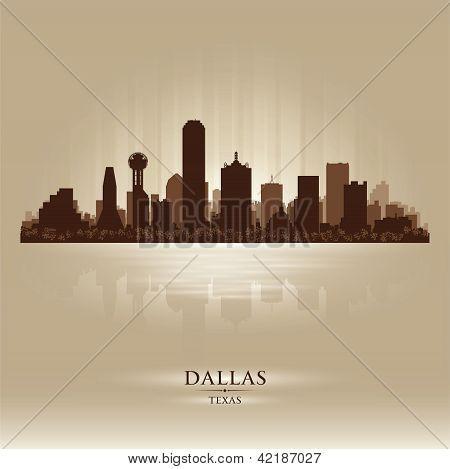Dallas, Texas Skyline City Silhouette