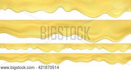 Set Of Realistic Vector Seamless Melted Cheese Or Cheese Fondue.flowing Down Liquid Cheese Horizonta