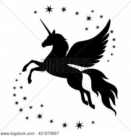 Silhouette Of A Climbing Unicorn With Stars. Silhouette Of A Climbing Unicorn With Stars. Black Silh