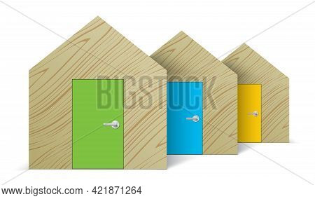 Abstract Wooden House Standing In A Row.