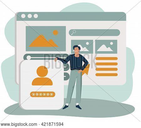 Man Adding Information On Website. Concept Of Digital Content Creation And Management, Internet Publ