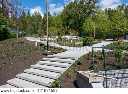 Brand New Concrete Pathway With Stairs In Residential Area