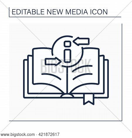 Book Line Icon. Recording Information Medium. Printed Sheets Of Paper. Information Space. Different