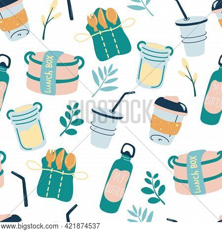 Seamless Pattern With Reusable Products. Eco Friendly Wallpaper Concept With Recyclable And Reusable