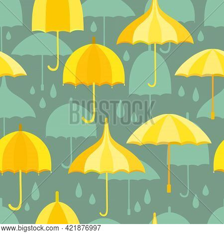 Seamless Pattern With Yellow Umbrellas And Teal Umbrellas And Rain Drops. Dark Teal Background. Desi