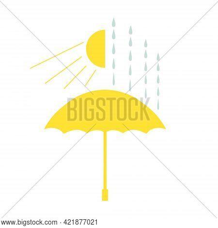 Minimalistic Icon Of The Umbrella, Rain And Sun. Yellow Flat Umbrella, Lined Rain Drops And Half Of