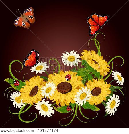Vector Illustration With Sunflowers And Daisies.chamomiles, Sunflowers And Insects On A Colored Back