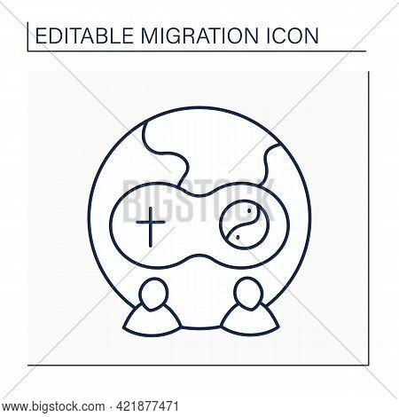 Assimilation Line Icon. Cultural And Religious Assimilation.rejection Of Other People Faiths Or Cult