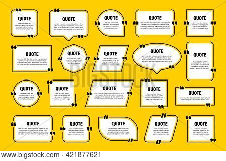 White Isolated Quote Frames. Speech Bubbles With Quotation Marks. Blank Text Box And Quotes. Blog Po