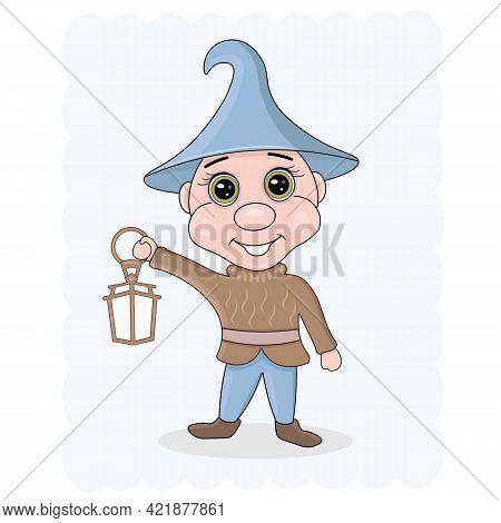 Vector Illustration Of A Cheerful, Fairy-tale Dwarf, Elf With A Lantern.