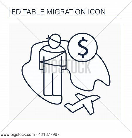Kidnapping Line Icon. Unlawful Transportation, Asportation And Confinement Of A Person Against Their