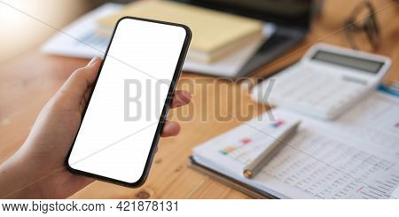 Mockup Image Cell Phone Blank White Screen For Text.