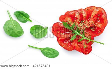 Heirloom  Tomato, Spinach, Spices, Pepper Isolated On White Background. Flat Lay. Food Concept. Fres