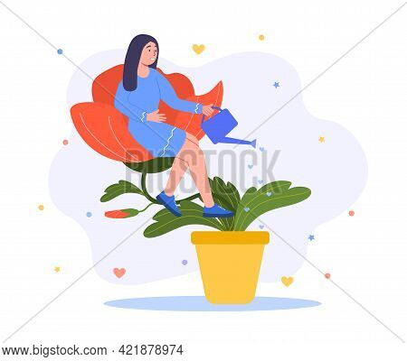 Self Sufficient Woman Sitting On The Flower. Narcissism, Self Perception And Self Esteem, Positive A