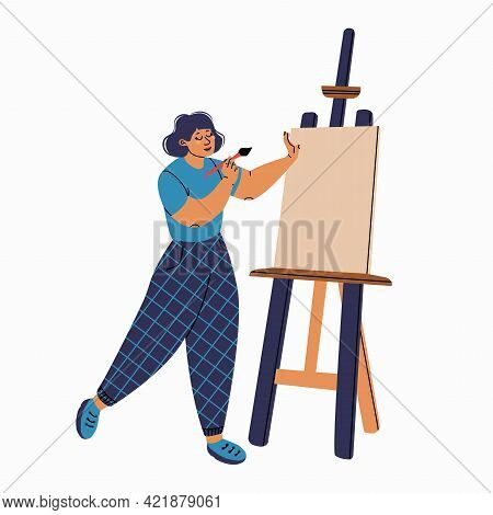 Girl Artist With A High Easel. Isolated Illustration For Design.
