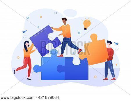People Connecting Puzzle Elements. Training Staff, Team Thinking, Big Data Analysis Of Company Finan