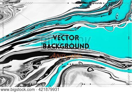 Fluid Art Texture. Abstract Background With Mixing Paint Effect. Liquid Acrylic Artwork With Trendy