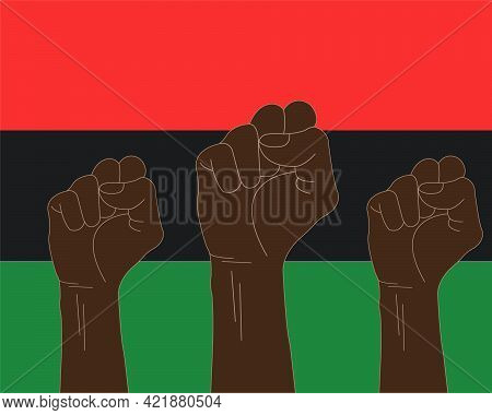 An Illustration Of Black Raised Fists. Pan-african Flag. Juneteenth Concept. Freedom Day Celebration