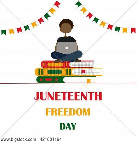 An Illustration Of An African American Boy Sitting On A Stack Of Book. Juneteenth Concept. Freedom D