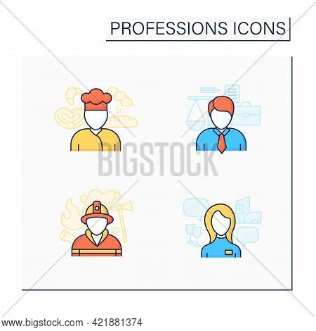 Professions Color Icons Set. Fireman, Baker, Lawyer And Hostess. Various Professions. Important Jobs