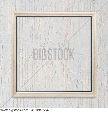 Square frame on bleached wood textured background