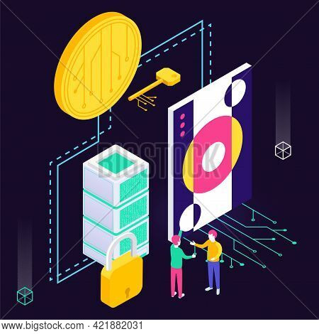 Cryptographic Art Crypto Art Nft Isometric Composition With Icons Of Electronic Coin With Painting A