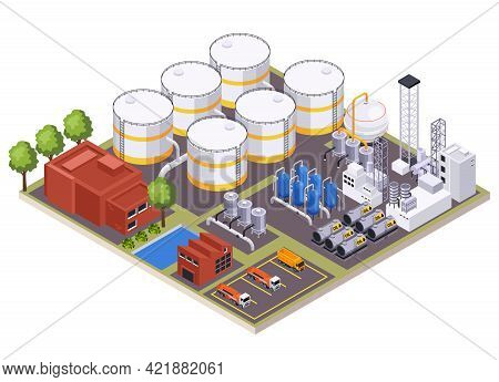Oil Petroleum Industry Isometric Composition With View Of Oil Processing Factory Site With Buildings