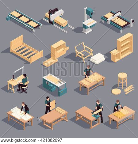Furniture Production Isometric Icon Set Assembly Cutting And Preparation Of Wood For The Production
