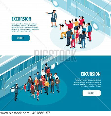 Excursion Isometric Banners With Tour Guide And Travellers Characters Near Sightseeing Bus Vector Il