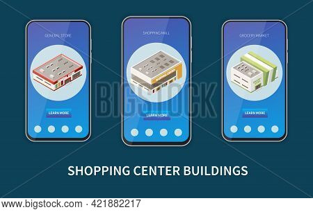 Shopping Mall Set With Grocery Market Symbols Isometric Isolated Vector Illustration
