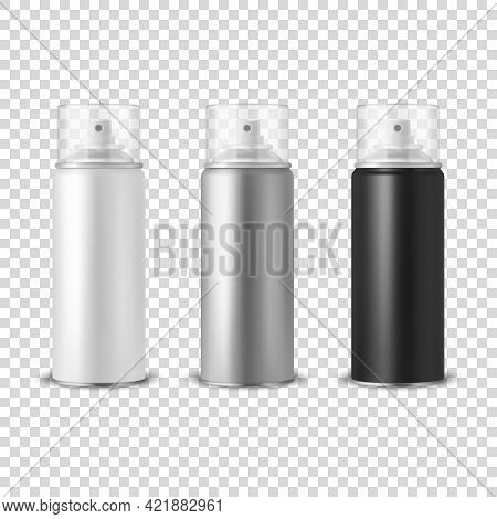 Vector 3d Realistic White, Silver, Black Aluminum Blank Spray Can, Bottle, Transparent Lid Set Isola